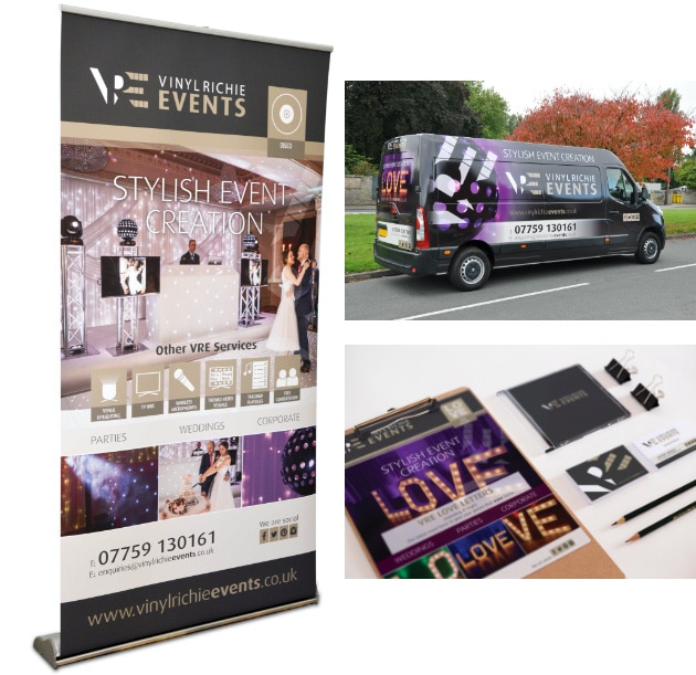 WP Creative, Design and Marketing Agency Suffolk, Print Design, Vehicle Graphics Example, DJ Events Company Materials