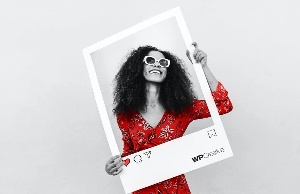 WP Creative, Design and Marketing Agency Suffolk, Social Media Services,  Woman Holding a Giant Photo Frame